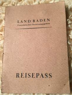 German Passport – State Of Baden 1947 – Unusual!