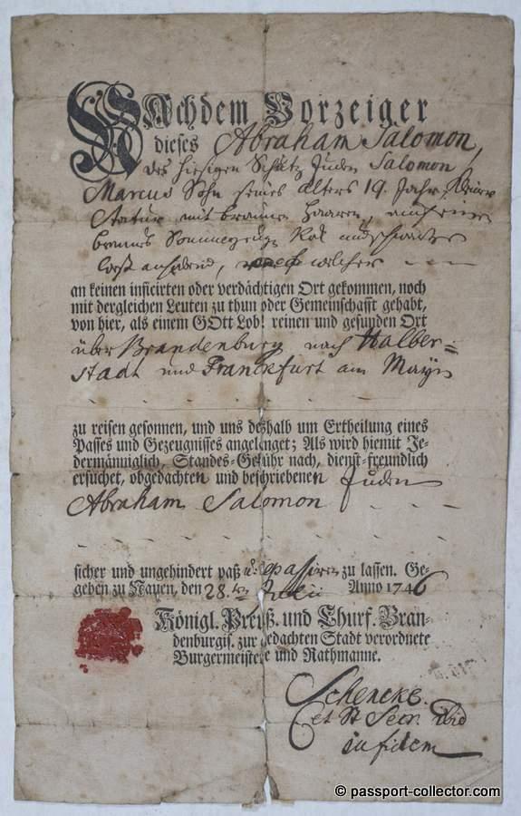 Schutz-Jude Abraham Salomon travelling to Frankfurt 1746