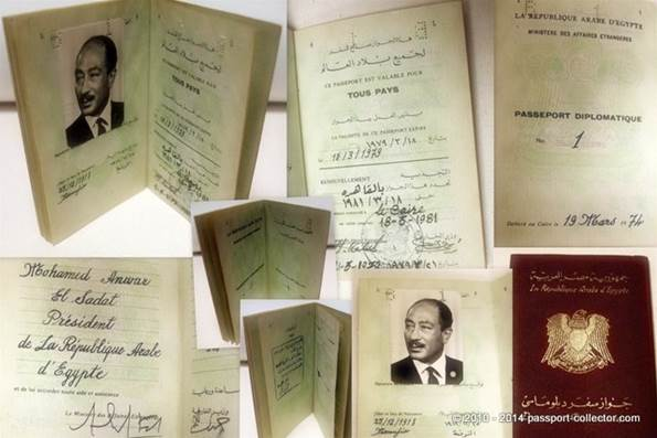 Diplomatic Passport - Anwar Sadat - President of Egypt
