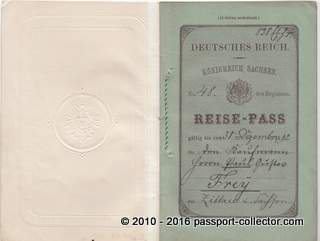 German Empire Passport – Kingdom Of Saxony 1892