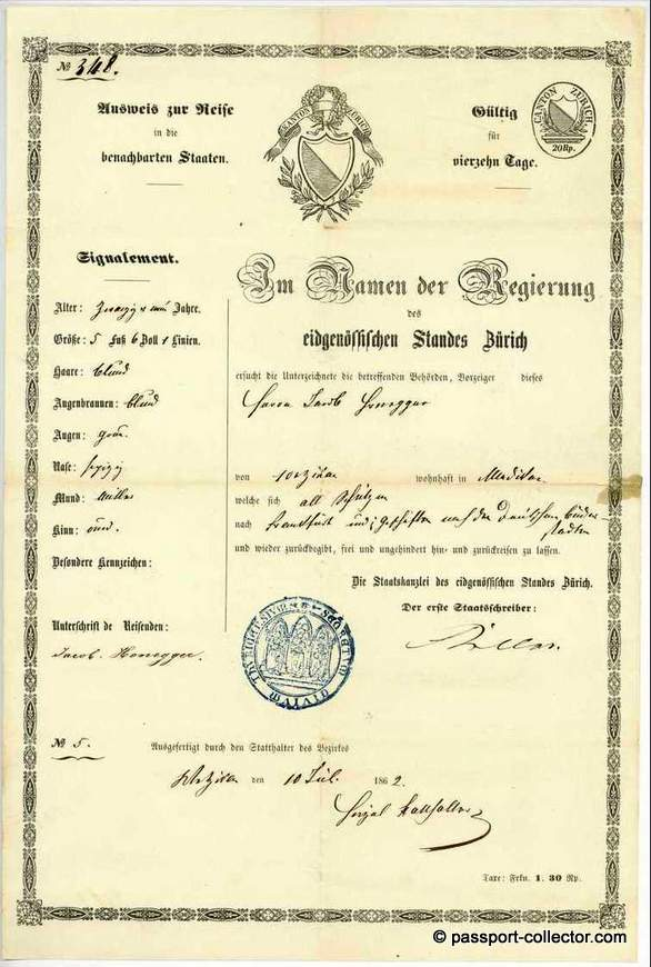 Swiss passport, Zürich 1862, signed by Keller