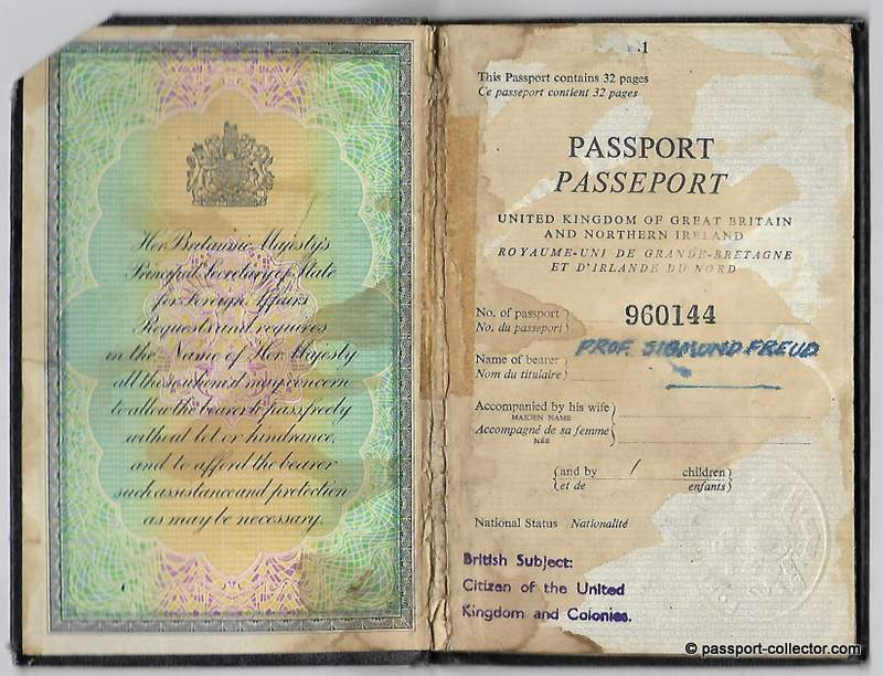 Sigmund Freud's British BOGUS Passport From 1930's
