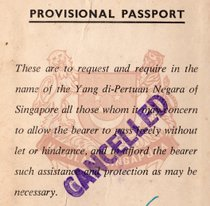 Republic of Singapore 1965 Provisional Passport
