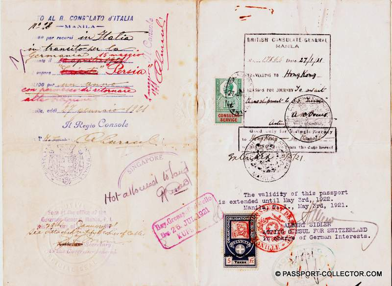 German passport Swiss issued Philippines Islands 1921