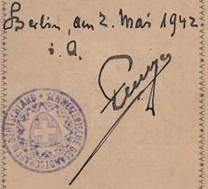 Rare Swiss Passport 1942 Issued In The Swiss Embassy Berlin