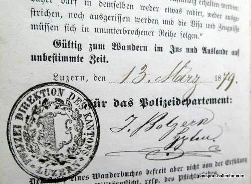 Swiss Journeyman Book & Passport 1879
