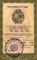 A Kingdom of Tonga passport is something rare to find