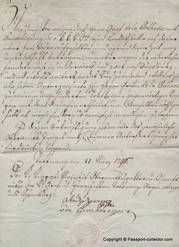 German Passport for French Nobleman escaping the French Revolution