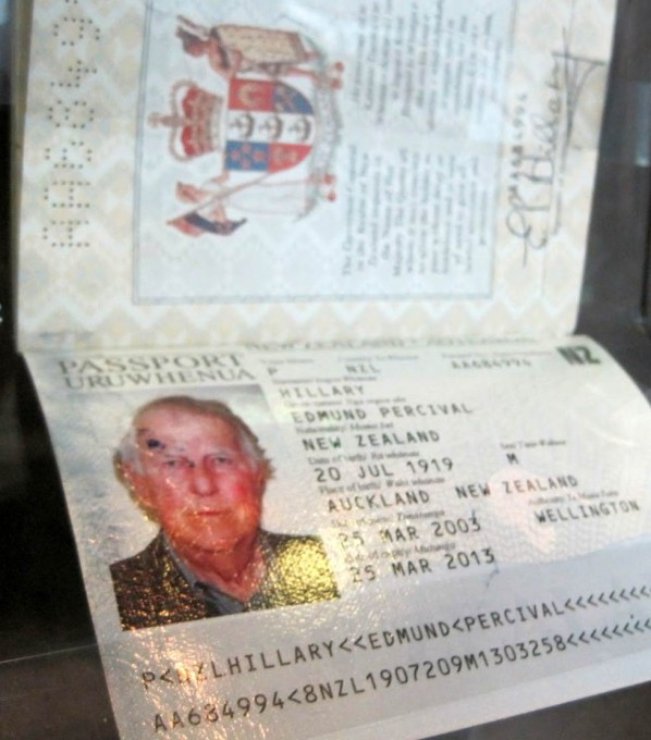 The late Sir Edmund Hillarys passport