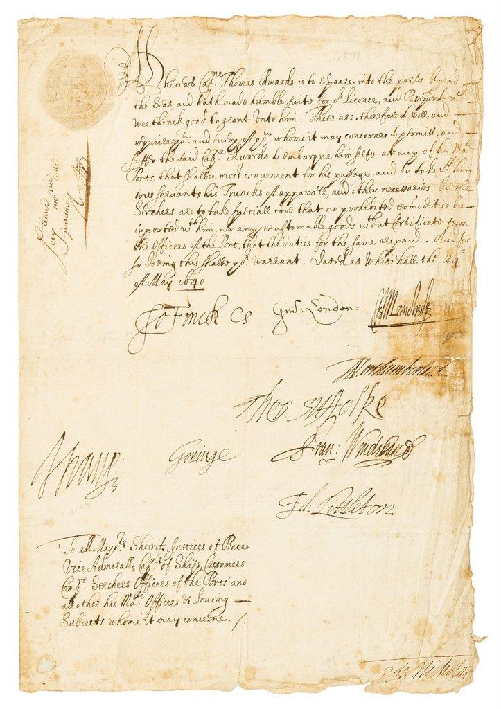 Bishop of London - William Juxon issued passport 1640