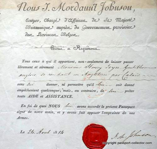 British passport 1814 provisional Belgian government (Napoleonic Wars)