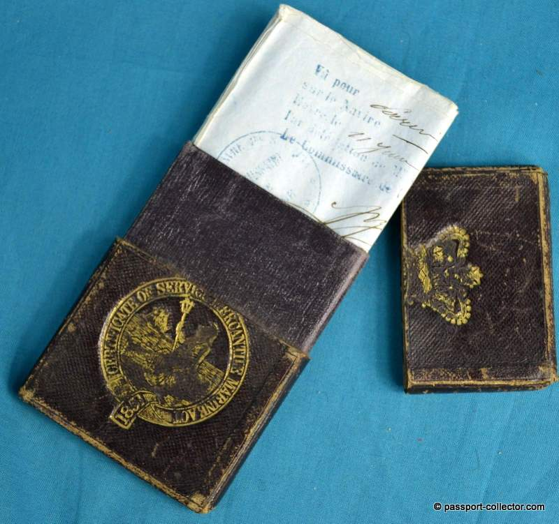 British Passport 1859 with very unusual customized wallet
