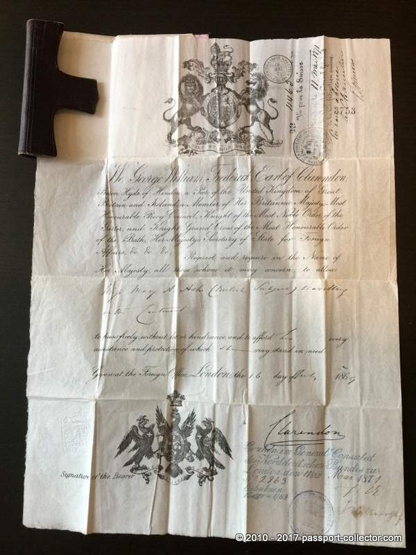 British Passport 1869 in leather wallet and with rare visa