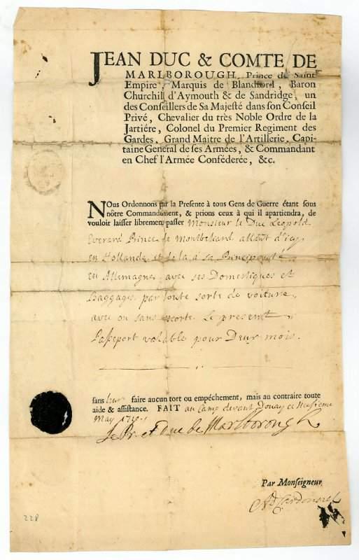 General John Churchill Marlborough passport 1710