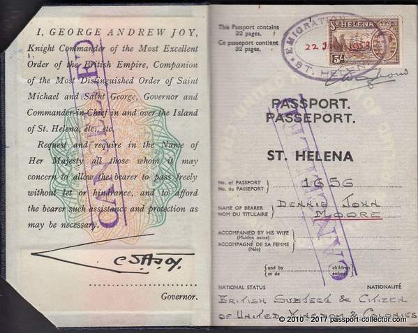 British Passport 1953 - The Island of St. Helena