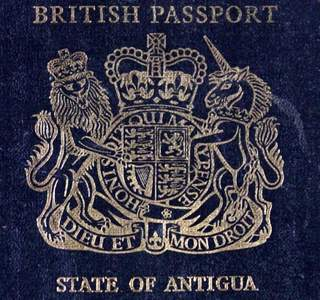 British Passport - State of Antigua, including revenues - A rare find!