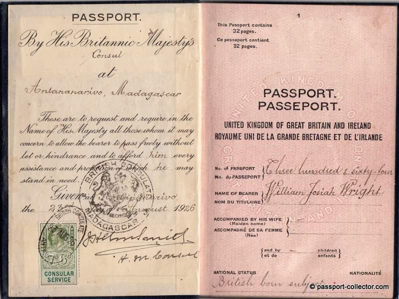British passport 1926 Madagascar