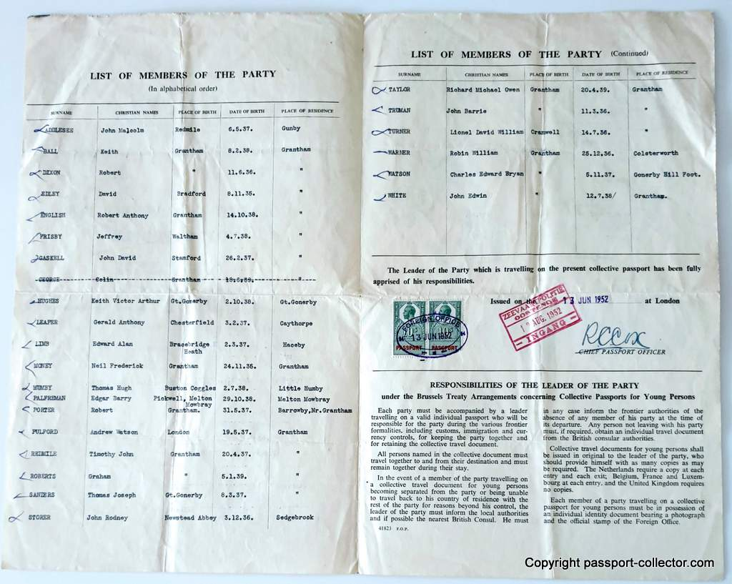 Collective Passport For Young People - UK 1952(1)