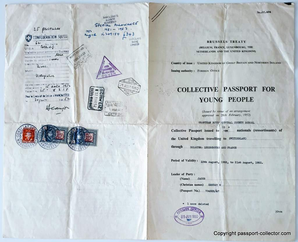 Collective Passport For Young People - UK 1952