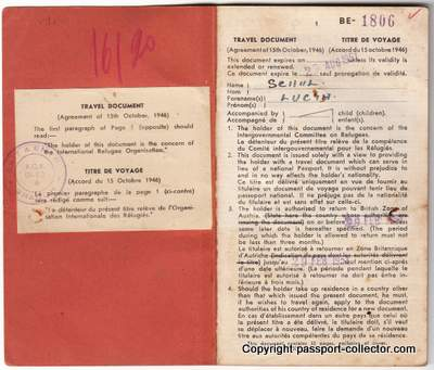 A unique and rare Refugee Travel Document issued for Peru