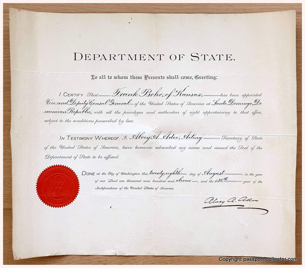 Appointment credentials Frank Bohr. 1911: Deputy Consul General at Berlin/Germany. Signed by Huntington Wilson