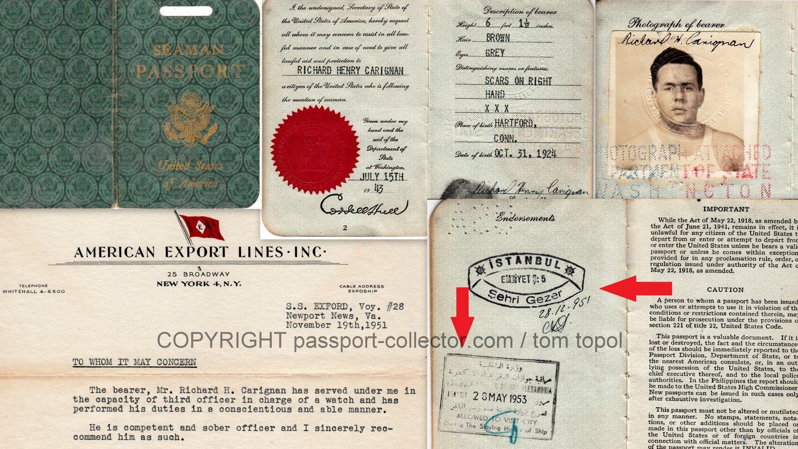 US Seamen Passport 1943 with border stamps