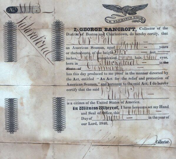 US Seaman certificate bancroft