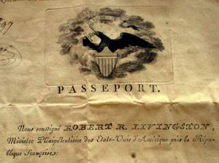 Robert R. Livingston issued US passport, Paris 1804