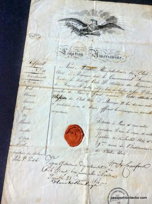 US Legation Paris passport