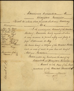 Handwritten Passport – US-Consul Robert Monroe Harrison, Jamaica 1835