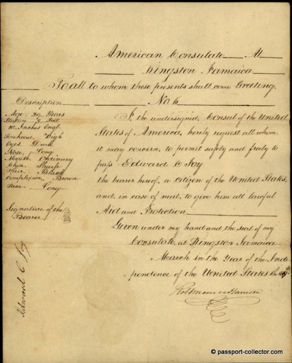 Handwritten Passport - US-Consul Robert Monroe Harrison, Jamaica 1835