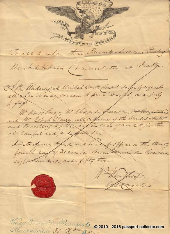 Rare US Group Passport 1852 - Consulate Malta