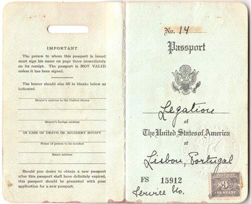 Scarce US Consulate Lisbon Passport 1943