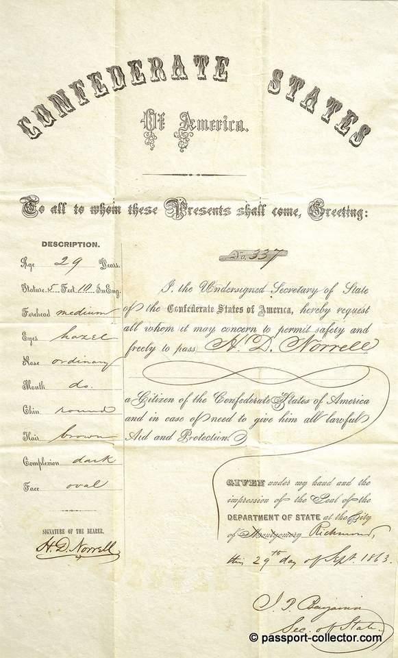 United States Confederate Passport Of Georgia 1863