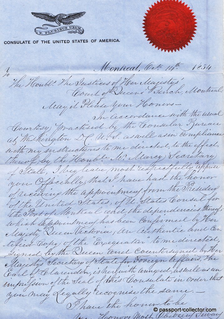 A 1854 letter from the first US Consul in Montreal