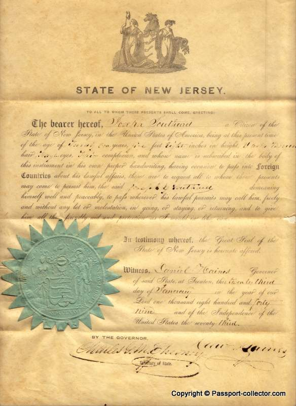 Beautiful US passport issued by the State of New Jersey 1849