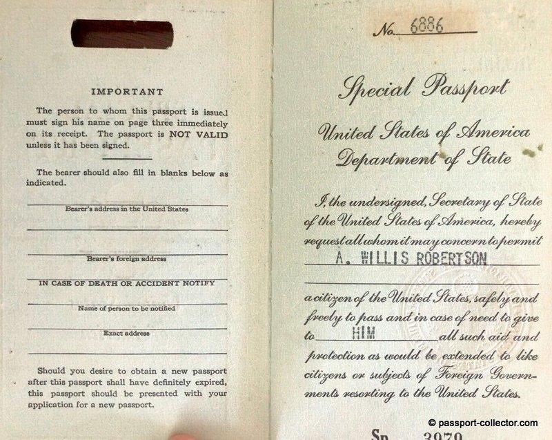 US Senator Absalom Willis Robertson - Special Passport