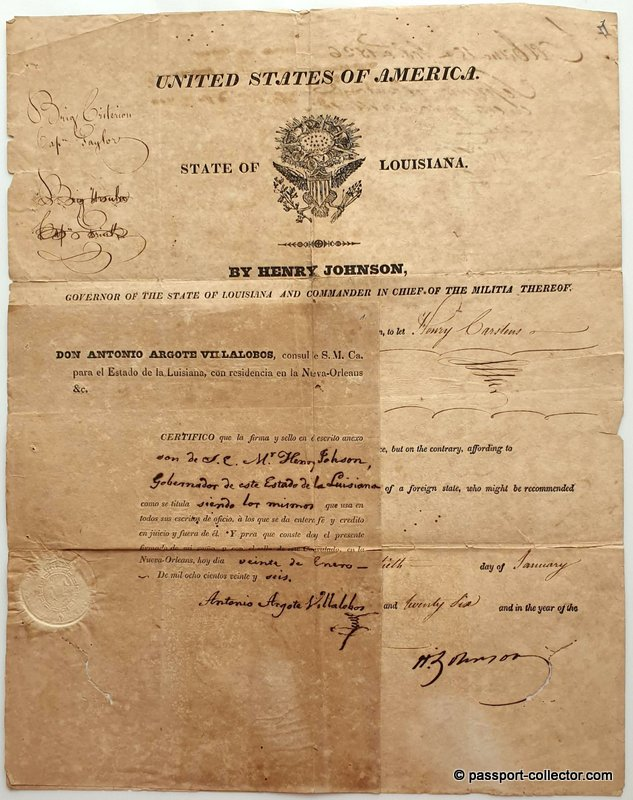 State of Louisiana Passport 1826 signed by Henry Johnson