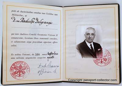 Very rare passport for the Second Vatican Council