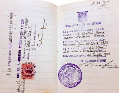 Vatican City passport 1934 for a Cardinal