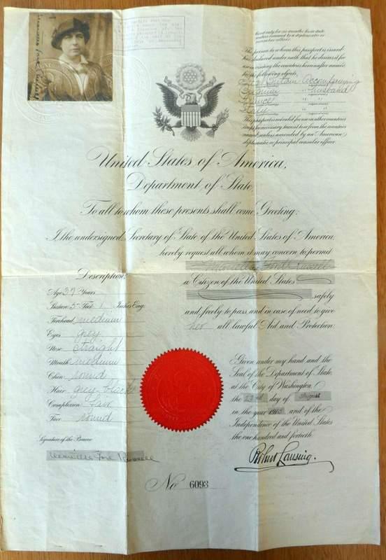 Passport Curtiss Aeroplane Company