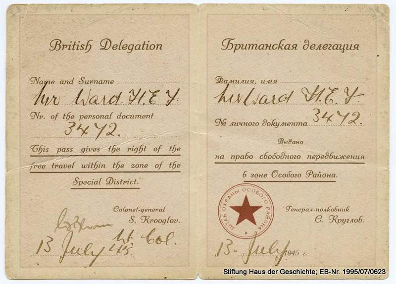 Potsdam Conference ID Card