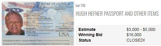Hugh Hefner (Playboy) several passports at US auction