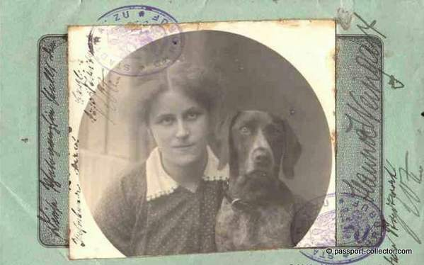 passport picture - woman with dog