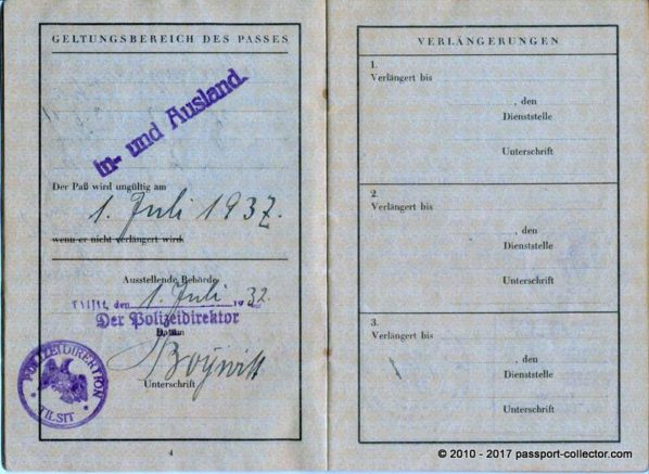 German Family Passport Issued In Tilsit - East Prussia