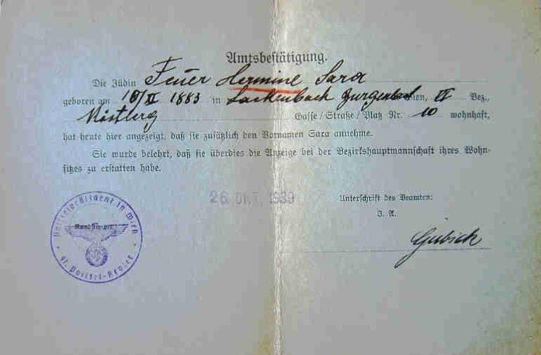 Jewish Names in German Passports